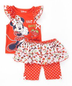Love this Red Minnie Mouse Tank & Skirted Leggings - Toddler on #zulily! #zulilyfinds