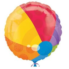 """Feel like you are at the beach with this Beach Ball Foil Balloon. Includes (1) foil 18"""""""" Balloon.Includes: (1) themed 18"""""""" foil balloon. Pattern is printed on both sides."""