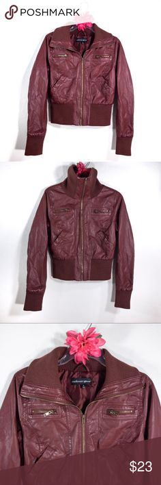c59aa8d4 Ambiance Apparel maroon aviator bomber jacket Ambiance Apparel maroon faux  leather aviator bomber jacket in good
