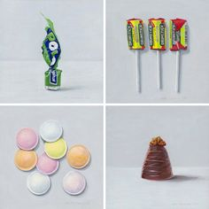Joel Penkman - dessert and food paintings Uk Sweets, Retro Sweets Uk, Joel Penkman, Walnut Whip, Sweet Wrappers, British Sweets, A Level Art, Food Drawing, Gcse Art