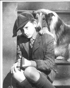 """Roddy McDowall and Pal as Lassie in the movie classic """"Lassie Come-Home"""""""