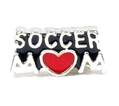 Sports Black Enameled with Clear Rhinestone Soccer Ball Mom Charm Bracelet Jewelry