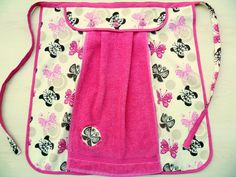 Pink Apron with Button-On Towel, Pink Half Apron, Pink Butterflies Apron,