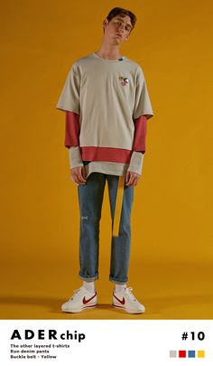 Styling with ADER color.  'THE OTHER, THE ADER' t-shirt.'Run' denim pants.Yellow buckle belt.  www.adererror.com