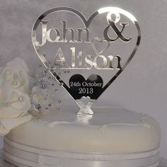 Little Shop of Wishes Personalised Couple - Heart Wedding Cake Topper - Silver Mirror Acrylic