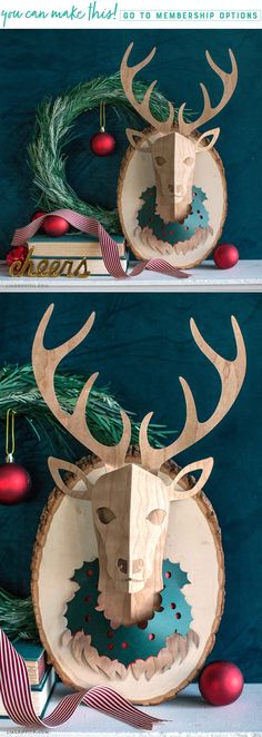 Paper Deer Head! Make this at home with our downloadable pattern and tutorial! Become a member at www.LiaGriffith.com #deerhead #trophy #paperdeer #papercraft #wallart #homedecor #christmasdecor #falldecor #diydeer #diypaper