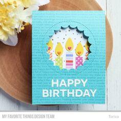 Inside Pop-Up Birthday Card - MFT Birthday Projects Challenge - Make a Wish stamp set & Die-namics, Happy Birthday Background, Snowfall Background, Birthday Candle - Happy Birthday, Birthday Diy, Birthday Wishes, Card Kit, I Card, Popup, Birthday Balloons, Birthday Candles, Personalized Birthday Cards