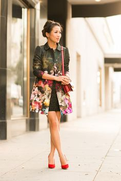 Holiday Bloom :: Floral jacket  Green spotted dress
