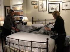 Making a pretty bed - just in case I forget - from Nell Hill's...the most wonderful store in Kansas City.