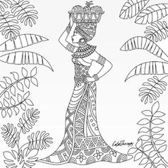 Escuela infantil castillo de Blanca: TURBANTES AFRICANOS. Colouring Pages, Free Coloring, Adult Coloring Pages, Coloring Books, Outline Drawings, Easy Drawings, African Tattoo, Afrique Art, African Art Paintings