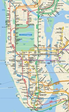 This is Manhattan Subway Map in New York City. This is the official subway map of Manhattan, New York City, MTA, Metropolitan Transportation Authority. Manhattan New York, Nyc Subway Map, New York Subway, Voyage Usa, Voyage New York, Plan New York, Ciudad New York, Carte New York, Train Map