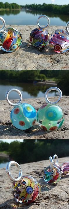 lampwork beads in combination with a handmade sterling silver bail click here to see more