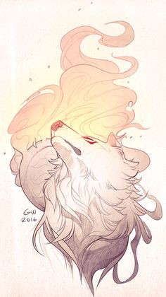 Amaterasu by Grynest - - Cute Animal Drawings, Animal Sketches, Cute Drawings, Mythical Creatures Art, Fantasy Creatures, Fantasy Kunst, Fantasy Art, Amaterasu, Anime Wolf
