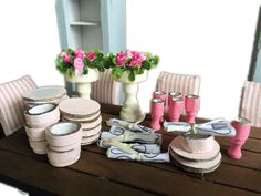 MiniMolly Dollhouse Furniture   Kitchen Crockery Wooden