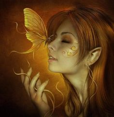 Golden butterfly kiss #fairies