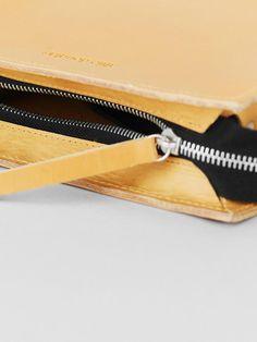Premium quality Swiss made zip closure on the minimal mini zipper leather bag, handmade in London, UK