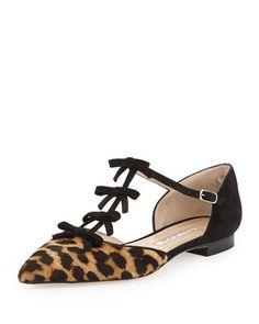Oscar de la Renta Evelyn Point-Toe Calf Hair Bow Flat, Leopard (=)