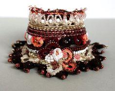 Crochet cuff bracelet Green cuff Beaded by KSZCrochetTreasures