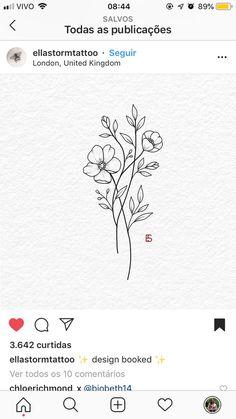 Blumen, Blätter, flower tattoos - small flower tattoos - flower tattoos sleeve - lotus flower tattoos - flower tattoos acuarela - flower tattoos vintage - flower tattoos on shoulder - Vintage Flower Tattoo, Small Flower Tattoos, Flower Tattoo Designs, Small Tattoos, Flower Outline Tattoo, Illustration Blume, Wildflower Tattoo, Flower Tattoo Shoulder, Floral Drawing