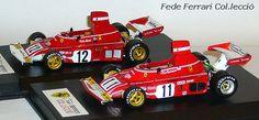 """Dos Ferrari 312B3/F1 de 1974. En primer termino con el nº11 el pilotado por Clay Regazzoni tras él, con el 12, el de Niki Lauda. El primero pertenece a la serie """"La Storia"""" de IXO, mientras que el segundo es un modelo realizado por Hot Wheels """"Elite"""", a escala 1:43"""