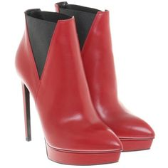 Pre-owned Ankle boots in red ($590) ❤ liked on Polyvore featuring shoes, boots, ankle booties, red, short boots, platform bootie, stiletto ankle boots, platform booties and platform stilettos