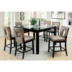 9 Piece Glass Dining Table Set