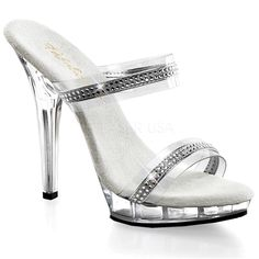 55737a2eb500 Fabulicious Sexy Shoes 5 Inch Stiletto Heel Two-Band Platforms Slide Slip  on Shoes with Rhinestone