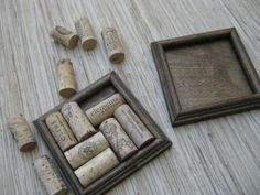Wine Cork Coasters - DIY set of 2 - dark brown, made from reclaimed wood, upcycle your wine corks