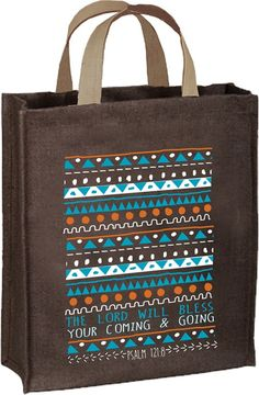 The Lord Will Bless your coming and going tote bag - Psalm 121:8 - Join Carpentree on a mission to help women achieve freedom from human trafficking.  - Laminated jute bag