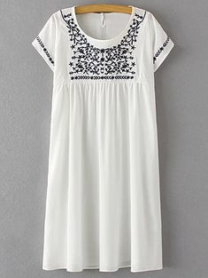 Floral Embroidery Scoop Neck Short Sleeve Dress WHITE: Casual Dresses | ZAFUL