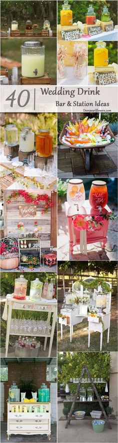 rustic country wedding drink bar / http://www.deerpearlflowers.com/wedding-drink-bar-station-ideas/2/
