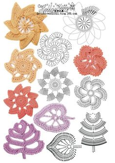 Crochet Knitting Handicraft: colorful flowers - illustration