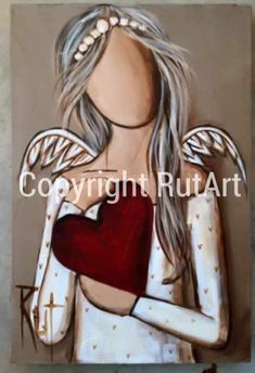 I just like this angel. Angel Pictures, Art Pictures, Angel Art, Christmas Angels, Rock Art, Art Tutorials, Mixed Media Art, Illustrations, Painted Rocks