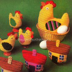 INSTANT DOWNLOAD PDF Vintage Crochet Pattern Easter Hen Chicks House Egg Cozies Chicken Cosies Cozy Cosy