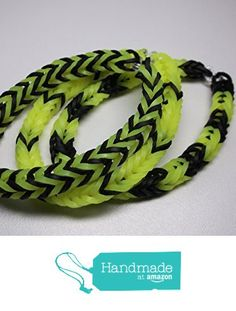 Rainbow Loom rubber band stretch bracelet lot of 3 fishtail pattern neon yellow black from Bravura https://www.amazon.com/dp/B015OVGOYK/ref=hnd_sw_r_pi_dp_LM-7yb30BF2G9 #handmadeatamazon