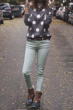 Polka dot sweater, mint jeans, and boots