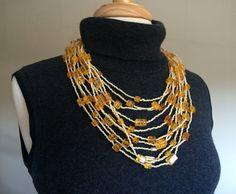 Creamy Amber Multi-Strand Necklace by byHalynka on Etsy