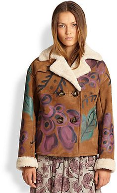 Burberry Prorsum Hand-Painted Suede & Shearling Coat