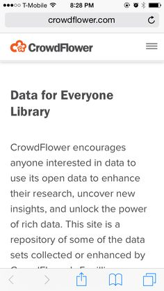 Data for everyone: a library of datasets from CrowdFlower