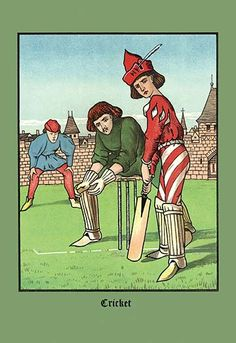 Medieval youth at bat in a game of cricket on a green. Handcolored lithograph after an illustration by J. E cm) Fine Art Print Framed, Poster, Canvas Prints, Puzzles, Photo Gifts and Wall Art Painting Prints, Fine Art Prints, Canvas Prints, Sports Art, Wonderful Images, Art Reproductions, Poster Size Prints, Vintage Art, Online Printing
