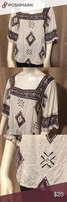 Lucky Brand Boho Top Super soft boho style top with a square neckline and 3/4 length sleeves. Like new condition, worn a couple of times but no signs of wear. There is elastic in the bottom hem. Fit intended to be a bit loose and flowey. Lucky Brand Tops