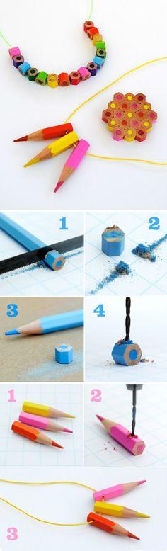 Vanhoista värikynistä voi valmistaa hauskoja koruja. Tämä askarteluprojekti vaatii tosin jo vähän laajempaa työkaluarsenaalia. Colored pencil Jewelry DIY (by Design Mom)