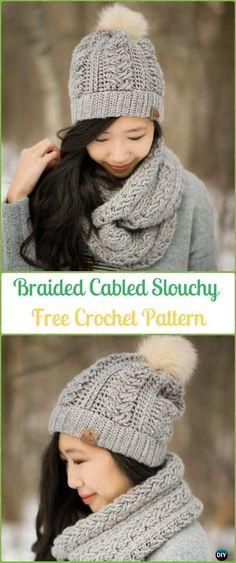 Crochet Braided Cabled Slouchy Beanie Hat Free Pattern-Crochet Slouchy Beanie Hat Free Patterns #CrochetBeanie