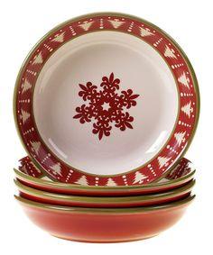 Look at this #zulilyfind! Snowflake Pasta/Soup Bowl - Set of Four #zulilyfinds
