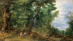 Rubens, Van Dyke, and Jordaens - Flemish Painters from the Hermitage: Wooded Landscape (The Rest on the Flight into Egypt), 1607