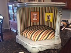 An old plastic 1970'S end table at thrift store with cheap frames and outdoor material provide a luxury suite for four legged friends. [media_id:3351272] First…