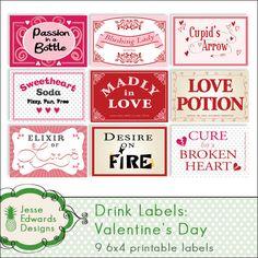 valentine's bottle labels by one awesome super fantastic designer!