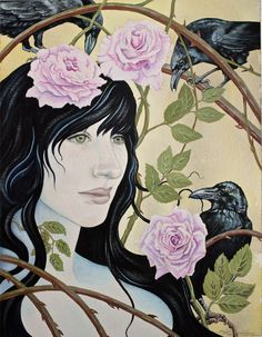 THE SECRET GARDEN,ravens,roses,crows,nature,flora and fauna,flowers,goddess,Morrigan,bird art,woman in nature,earth art,sacred garden,female by SheriHoweArt on Etsy