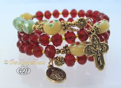 Rosary Bracelet Wrap,Red Crystals,Bridal,Mother's Day Gift,Godmother's Gift,Confirmation Gift,Catholic Bracelet,Religious Gift,#627 by OURLADYBeads on Etsy
