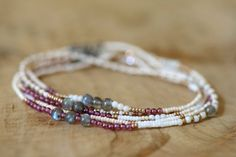 Beaded Wrap Bracelet, Seed Bead Jewelry, Beaded Stretch Bracelet, Garnet, Labradorite & Amazonite, Beaded Boho Jewelry, Elastic Claspless